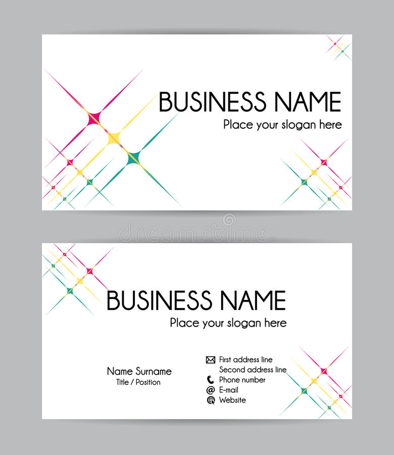 Stars graphic business card design. Front and back. royalty free illustration