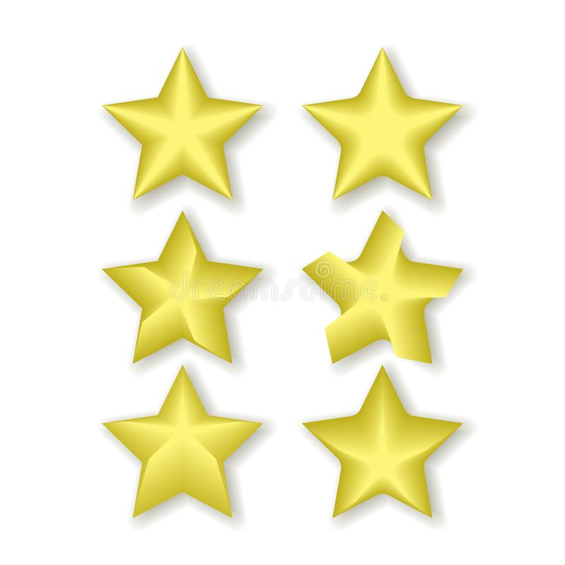 stars icon yellow color with shadow vector isolated on white background. royalty free illustration