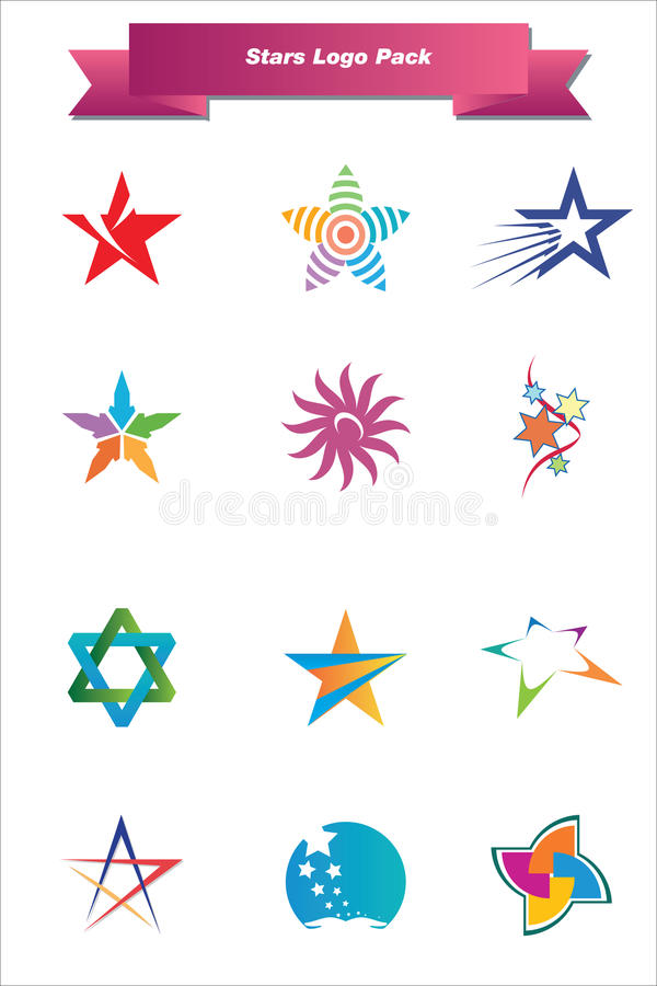 Download Stars Logo Pack stock vector. Illustration of drawing - 25094639