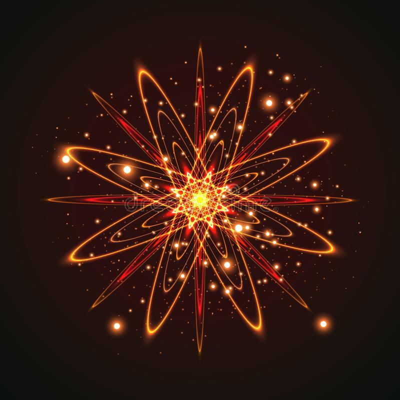 The stars are made of oval. Light effects glow. Star flashed sequins. Abstract space background. Flash Highlight beam. Fantastic design stock illustration