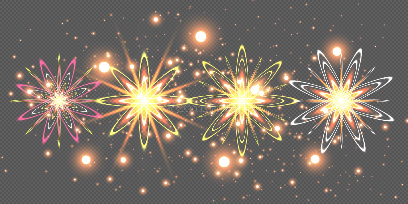 The stars are made of oval. Light effects glow. Star flashed sequins. Abstract space background. Flash Highlight beam. Fantastic design royalty free illustration