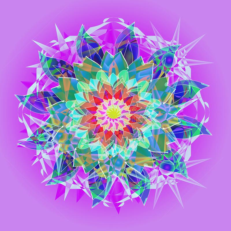 STARS MANDALA. ART DECO STYLE. PLAIN PURPLE BACKGROUND. CENTRAL FLOWER AND STARS IN WHITE, BLUE, TURQUOISE, AQUAMARINE, GREEN. ART DECO MANDALA STARS AND FLOWER vector illustration