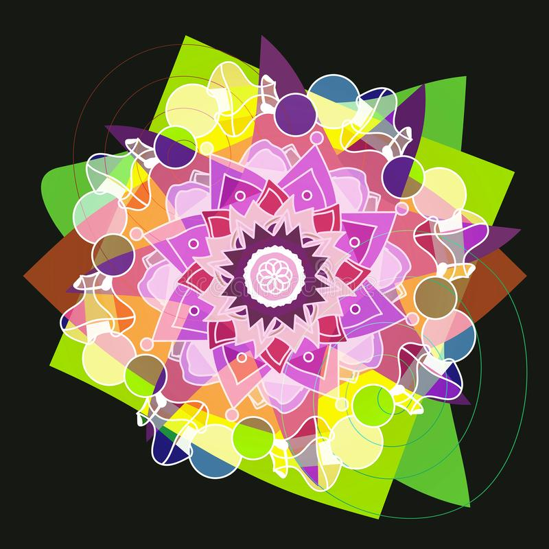 STARS MANDALA FLOWER IN BRIGHT COLORS, PLAIN BLACK BACKGROUND royalty free illustration
