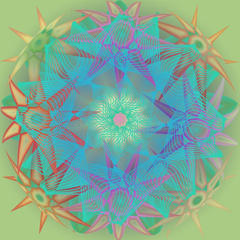 STARS MANDALA. PLAIN AQUAMARINE BACKGROUND.  CENTRAL LINEAR FLOWER IN TURQUOISE. STARS IN DIFFERENT SHAPES IN PASTEL COLORS PALLET stock illustration