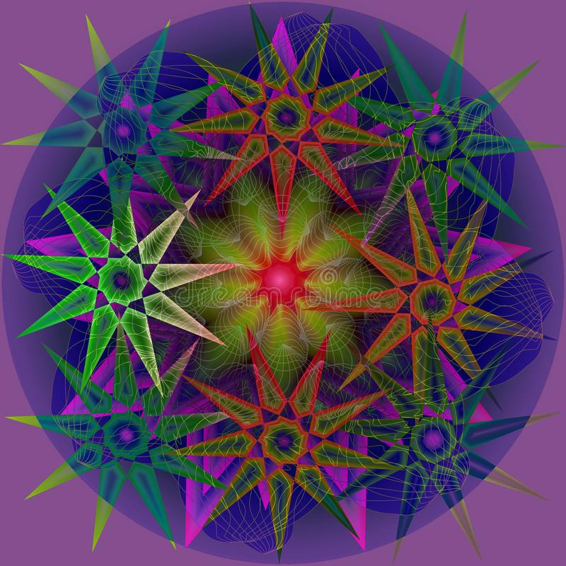 STARS MANDALA, PLAIN PURPLE BACKGROUND. CENTRAL BLUE CIRCLE. STARS IN GREEN, WHITE, PURPE, ORANGE, BLUE. COLORFUL IMAGE. STARS MANDALA. PLAIN PURPLE BACKGROUND vector illustration