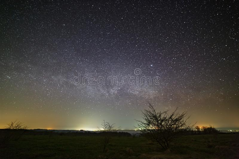 Stars of the Milky Way in the night sky. Landscape photographed with a long exposure.  stock image