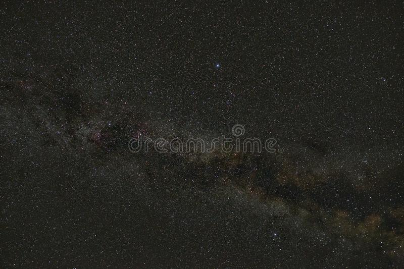 Stars of the Milky Way in the sky at night. Outer space with part of the galaxy. Photographed with a long exposure.  royalty free stock photography