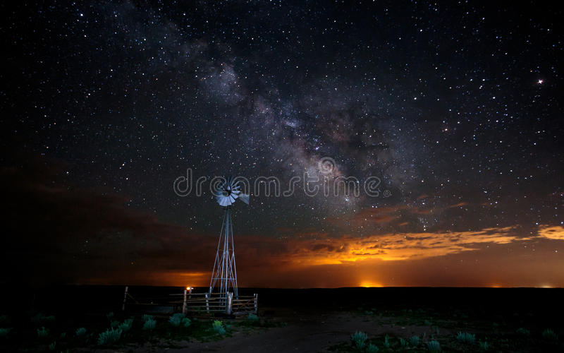 Stars and Milky Way with Windmill stock image