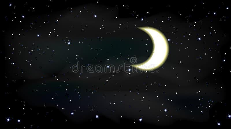 Stars moon sky night illustration royalty free stock photos