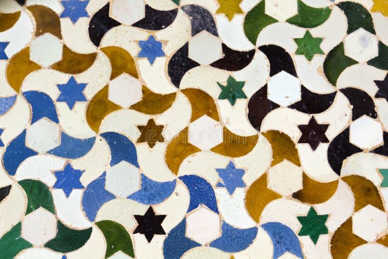 stars and moons. mosaic of the Alhambra, Granada royalty free stock image