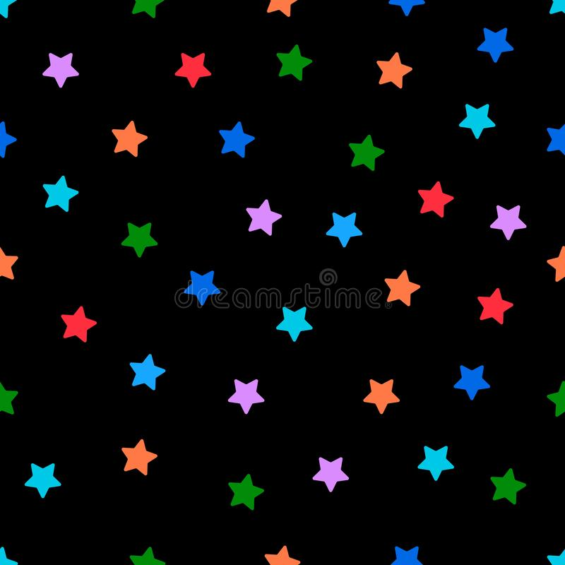 Stars multicolor seamless pattern wallpaper with black background royalty free stock photo