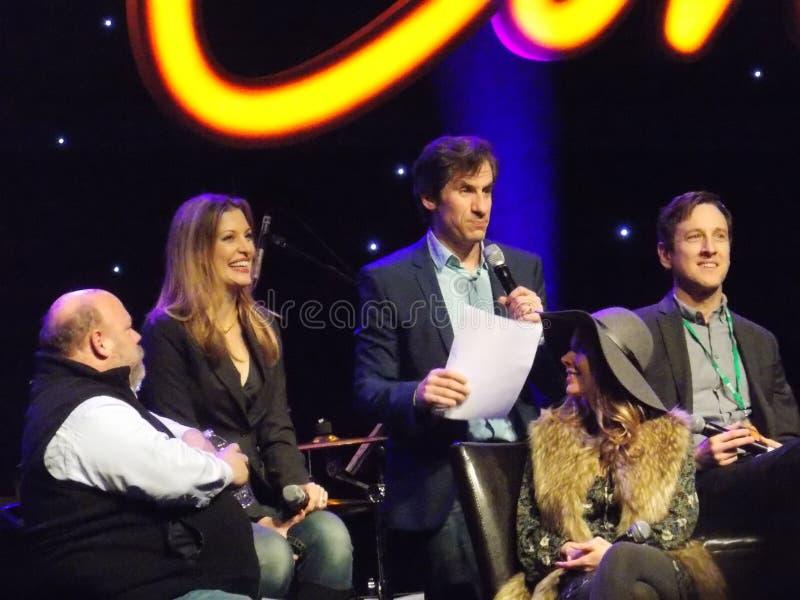 Stars of Musical Disaster Speak on Panel royalty free stock image