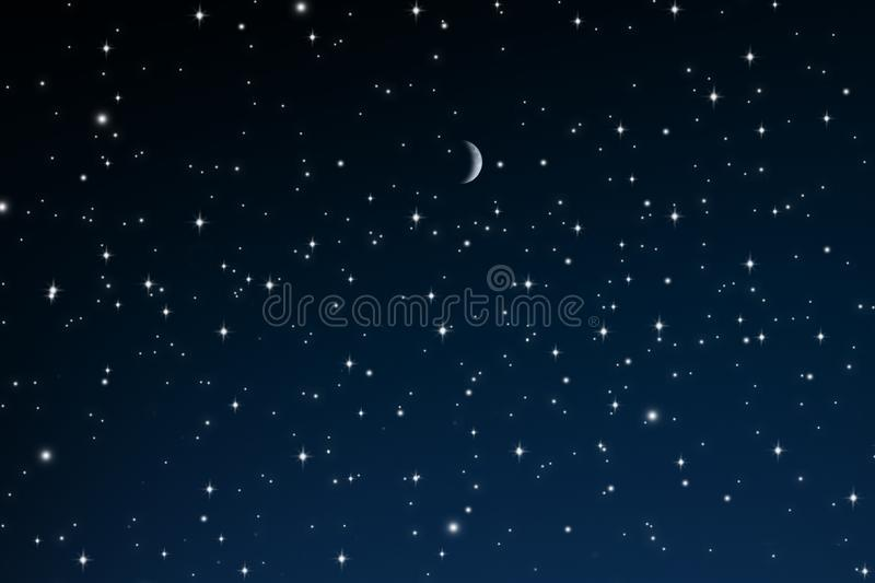 Stars at Night with crescent moon stock photos