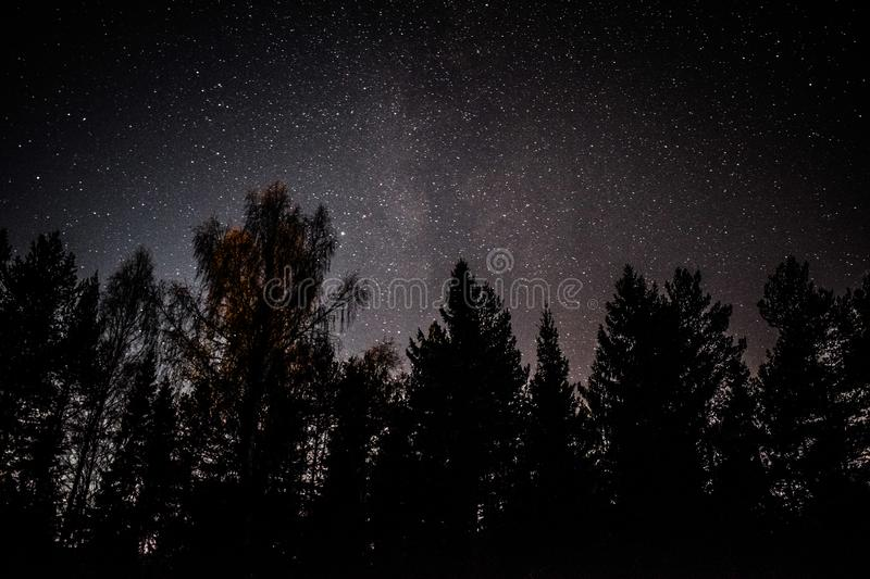Stars at night in norway milkyway. Stars at night in norway hedmark milkyway in the middel stock image