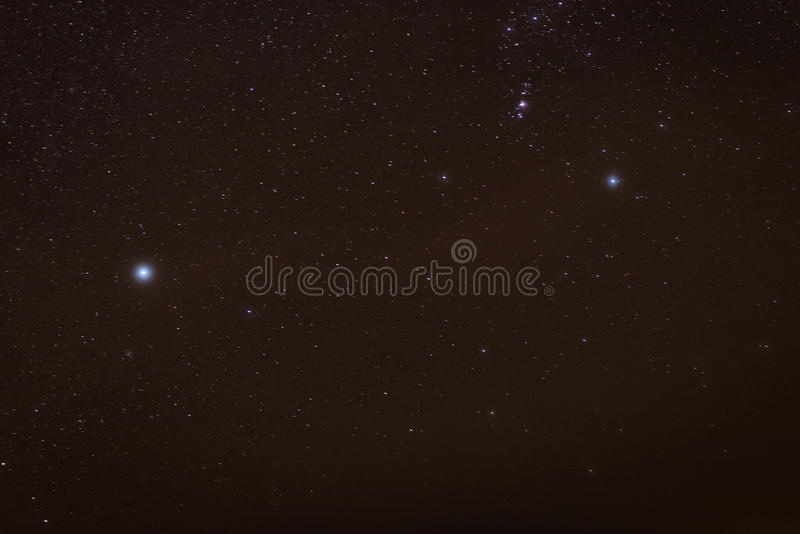 Stars on night sky stock images