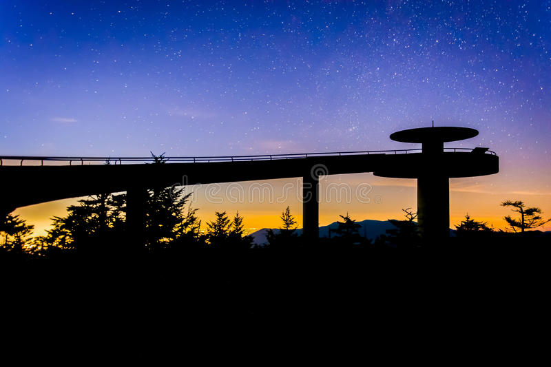 Stars in the night sky over Clingman's Dome Observation Tower in royalty free stock photo
