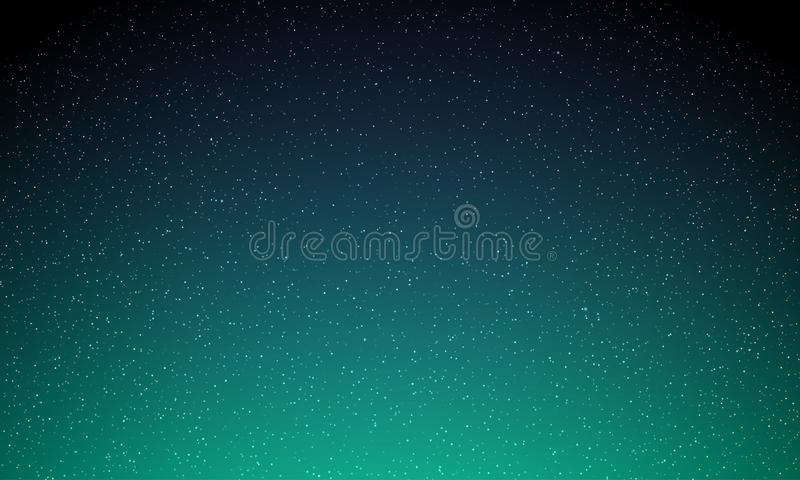 Stars in night sky, starry light, vector galaxy space background. Aurora Northern lights glow, neon magic shine background vector illustration