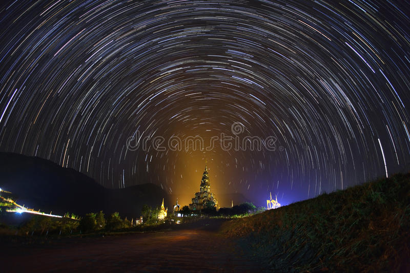 The Stars night of startails over Phasornkaew Temple royalty free stock photography
