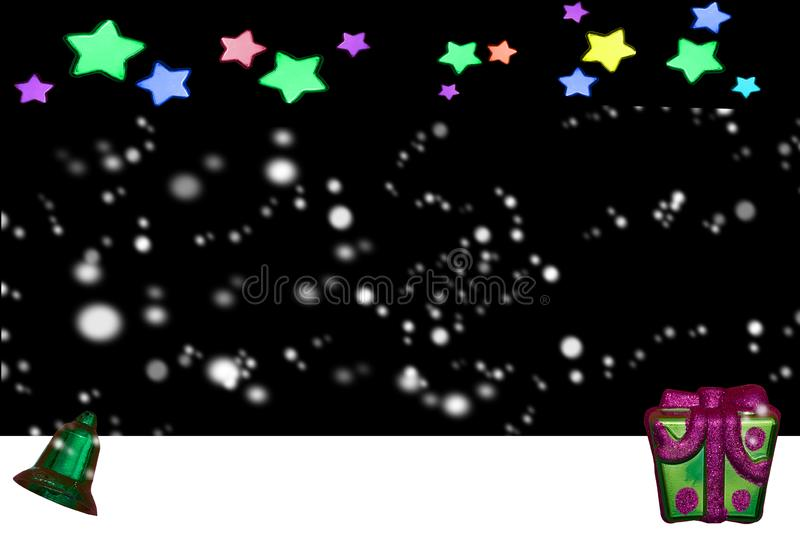 Stars in night time with snow fall on bell and present in Christmas and new year stock images