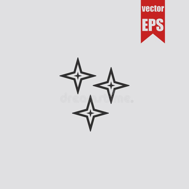 Stars o ícone isolado no fundo cinzento Ilustração do vetor ilustração stock