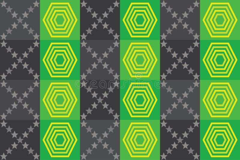 Stars o cinza da textura do verde do fundo do squere da forma da bandeira ilustração royalty free