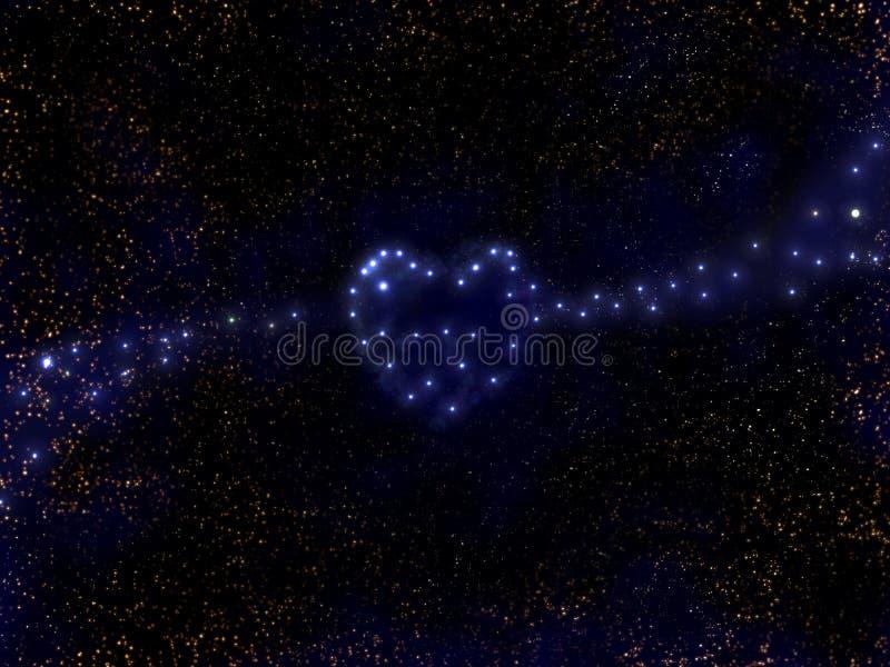 Stars o coração - como uma galáxia. (Sumário) ilustração do vetor