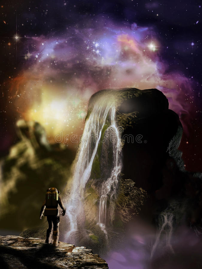 Stars over alien planet. Astronaut watching waterfalls on a rock over an alien planet under the stars vector illustration