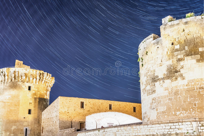 Stars over castle royalty free stock photo