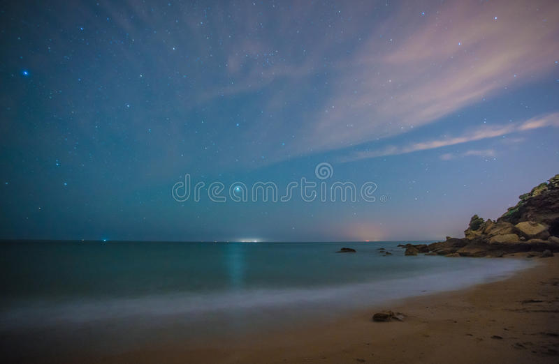 The stars in a perfect night in a beach royalty free stock photo