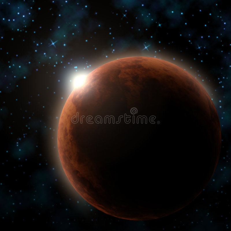 Red Planet. Illustration Red Planet Sun Stars vector illustration
