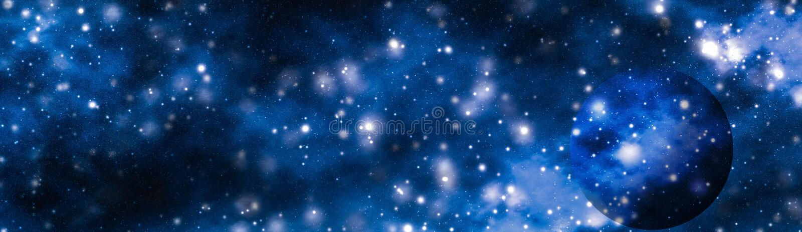 Stars, planet and galaxy in cosmos universe, space and time travel science background stock photo