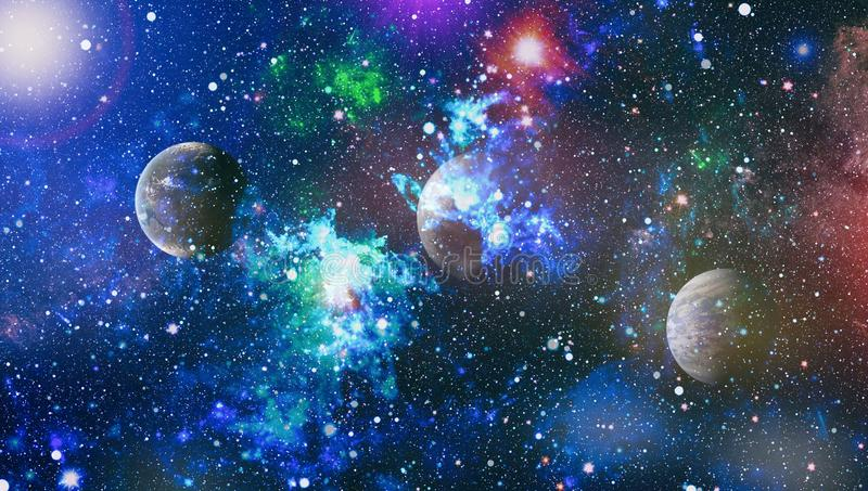 Nebula and galaxies in space.Planet and Galaxy - Elements of this Image Furnished by NASA. Stars of a planet and galaxy in a free space. Elements of this image vector illustration