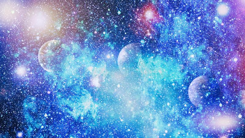 Nebula and galaxies in space.Planet and Galaxy - Elements of this Image Furnished by NASA. Stars of a planet and galaxy in a free space. Elements of this image stock illustration