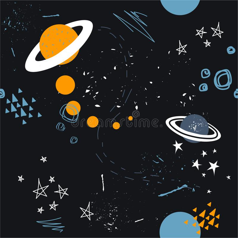Stars, planets, constellations, seamless pattern. Vector. Hand drawn backdrop, night sky. Colorful overlapping background, outer space. Decorative wallpaper vector illustration