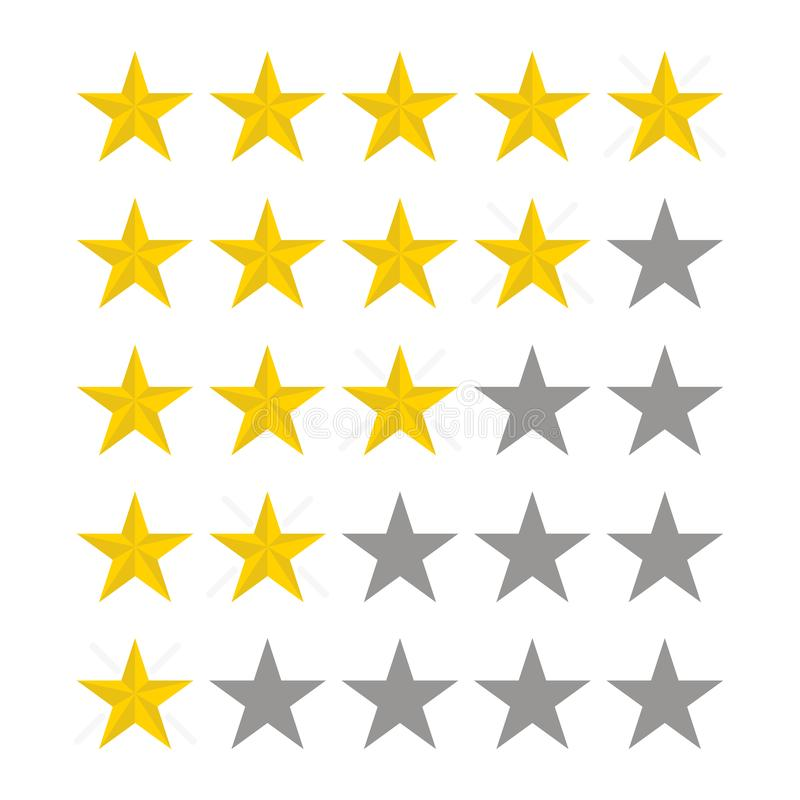 Stars rating. Vector five star. Rate design. Illustration in flat style. Vector stock illustration