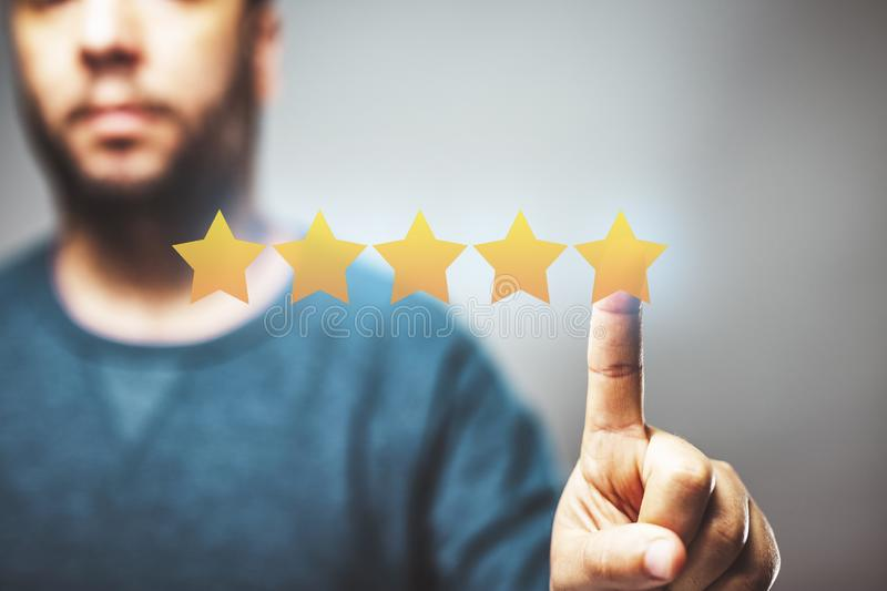 5 stars review score, reputation management, rating concept, high quality service. 5 stars review score, reputation management, rating concept,feedback, customer royalty free stock images