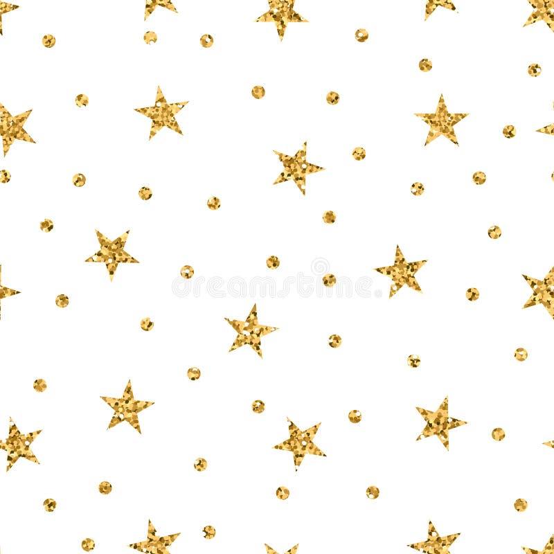 Stars seamless pattern gold vector illustration