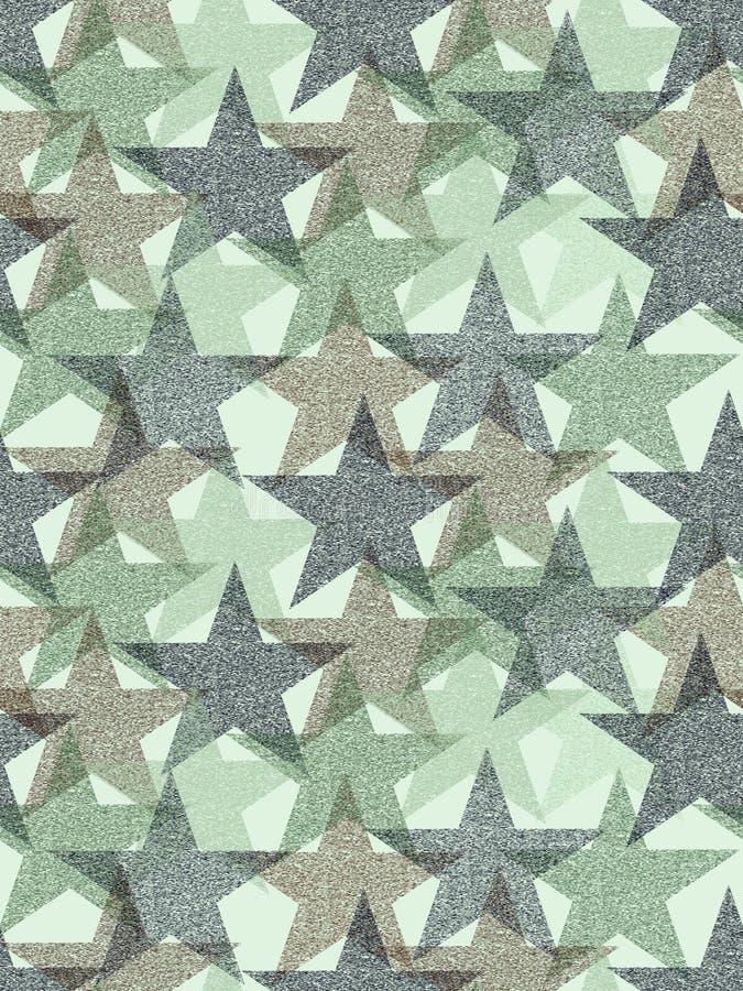 Stars seamless pattern grunge effect camouflage design stock illustration