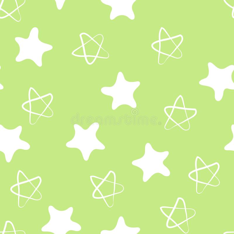 Stars seamless pattern. Kid`s fashion print. Design elements for children. Hand drawn doodle repeating shapes. Cute green and stock illustration