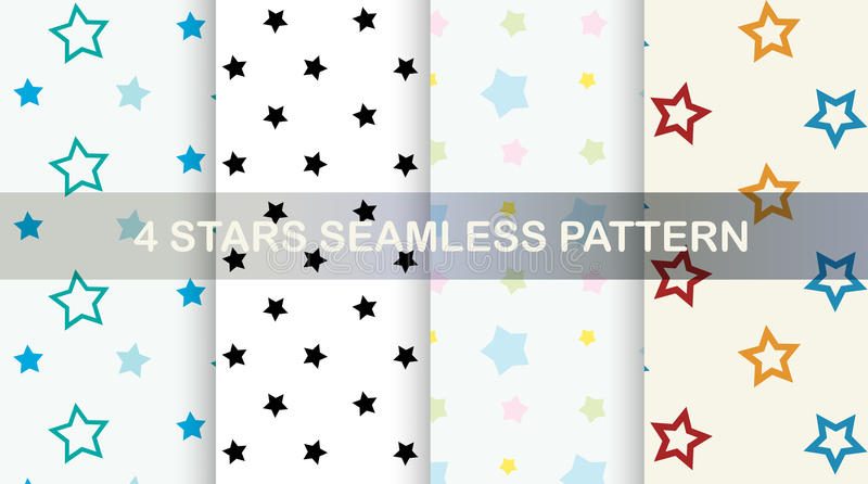 Stars seamless pattern. Vector set. stock illustration