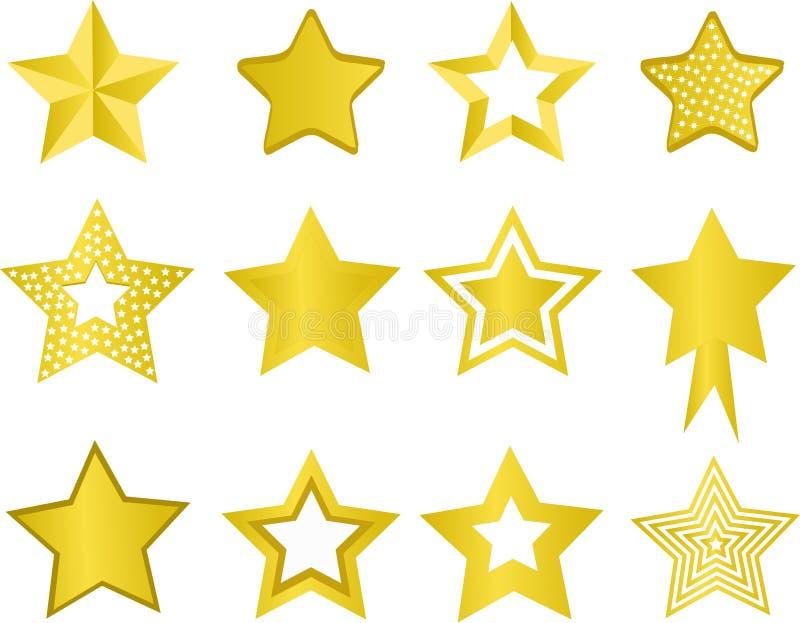 Stars. Set of golden stars on white stock illustration
