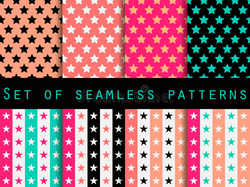 Stars. Set seamless patterns. Blue and pink color. The pattern for wallpaper, bed linen, tiles, fabrics, backgrounds. Vector vector illustration
