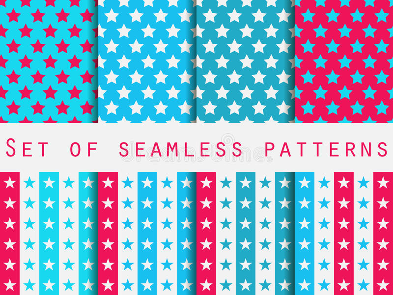 Stars. Set seamless patterns. Blue and pink color. Vector vector illustration