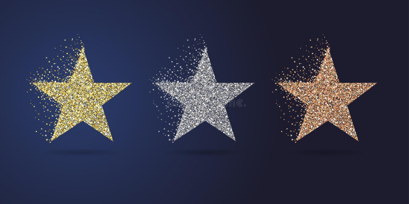 Golden stars party collection stock illustration