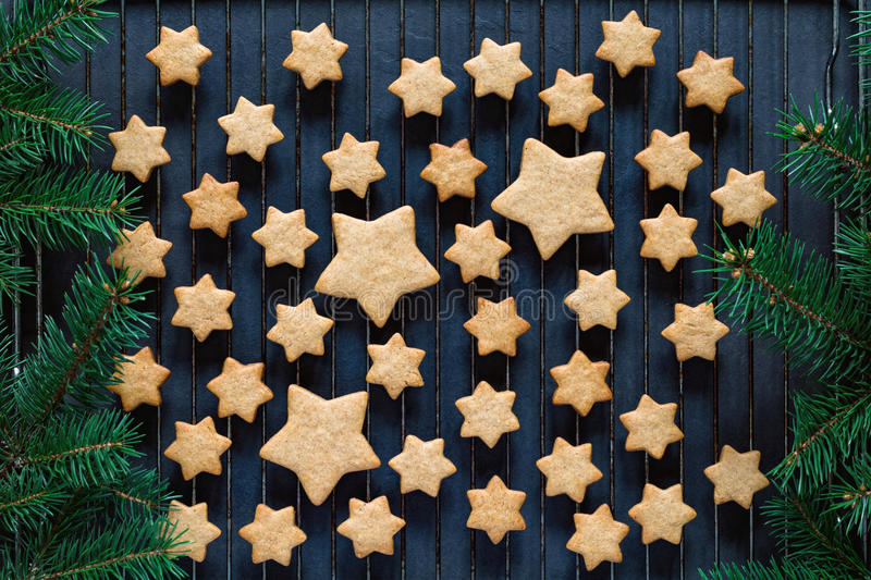 Stars shaped gingerbread cookies royalty free stock photo