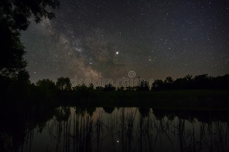 Stars in the sky at night. Bright milky way over the lake. Photographed with a long exposure.  stock images