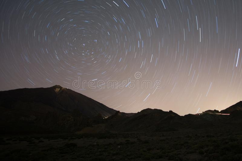 Stars - Star trail night sky, Teide, Tenerife stock photos