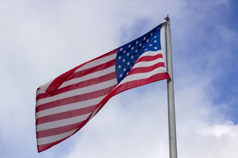 The star spangled banner, the national flag of the USA flying in thew Irish town of Blarney. The stars and stripe otherwise called star spangled banner. The stock photo