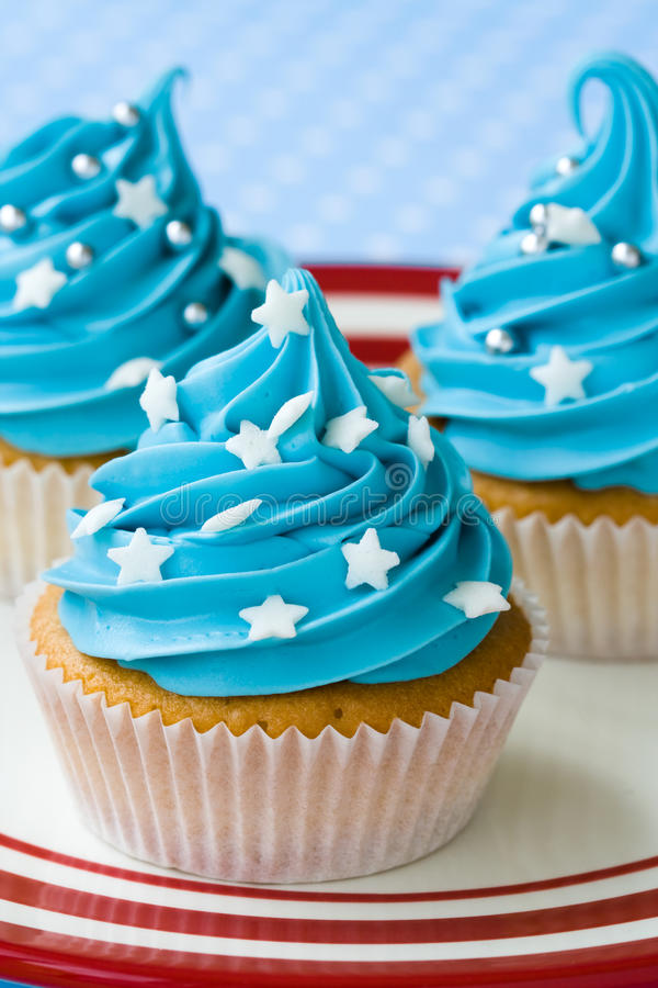 Stars and stripes. Cupcakes with an Independence Day theme stock image