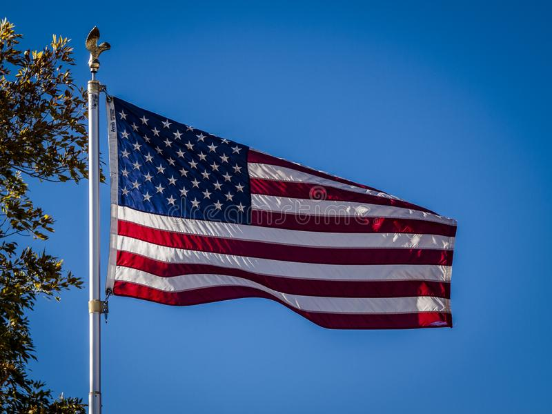 Stars and Stripes Billowing in the Wind stock image